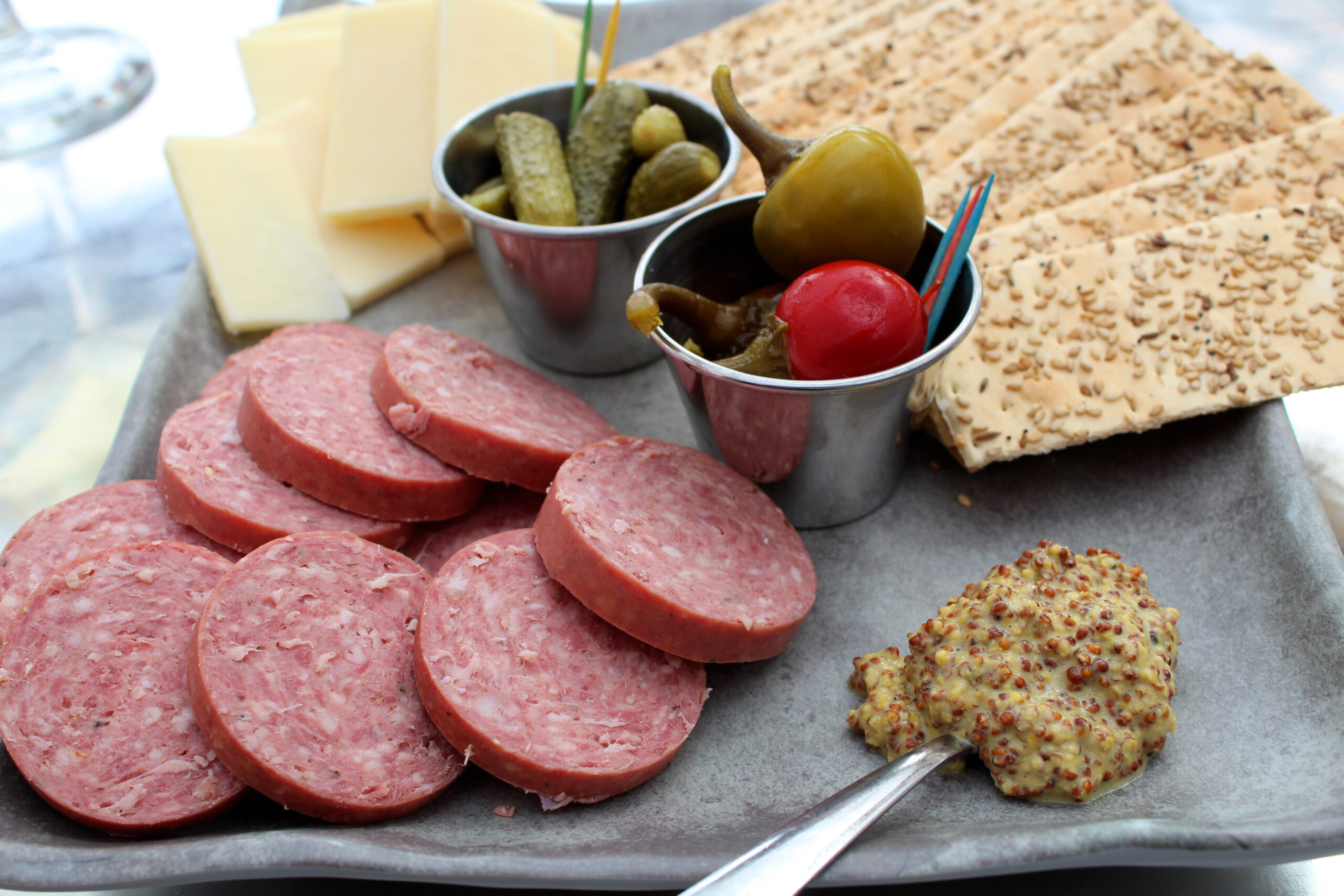 Individual charcuterie boards are fun for small outdoor parties